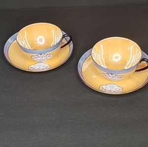 Lusterware Cups & Saucers (2)